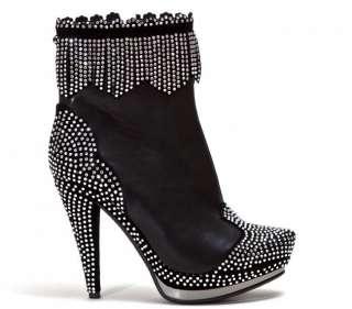 Lady Couture Black Crystal Bellagio Style Ladies High Heel Bootie
