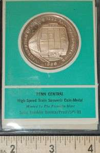 1969 Proof Penn Central High Speed Train Commemorative Bronze Coin