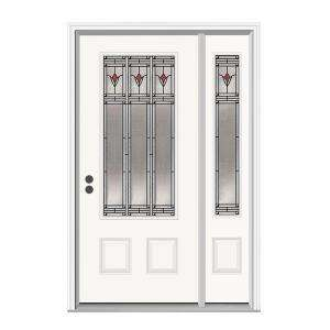 JELD WEN Arum 36 in. x 80 in. White Prehung Right Hand 3/4 Lite Steel