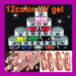 12Mix Color UV Acrylic Nail Art Glitter Builder Gel Set