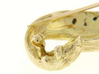 14K YELLOW GOLD DIAMOND CAT BROOCH PIN VINTAGE JEWELRY