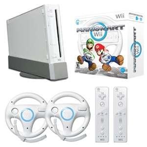 Nintendo Wii Mario Kart Racing Bundle   Wii Gaming Console, Mario Kart