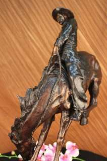 40 Lbs Outlaw By Frederic Remington Bronze Marble Base Figurine