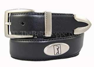 PGA Tour Mens Black Leather Concho Golf Belt   Sizes 34   44 (New w