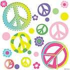 Peace Signs w/ Polka Dots Flowers Girls Room Dorm Wall Sticker Decals
