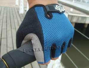 New Bicycle Half Finger Gloves Padded Mesh bike Blue