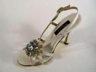 Nina Chablis Black Ivory or Pink Strappy Satin Heels Pumps Evening