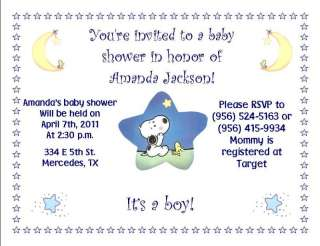 Htf baby snoopy on popscreen 12 baby snoopy birthday andor baby shower invitations filmwisefo Choice Image