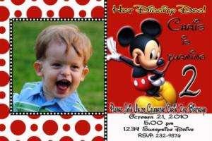 Mickey Mouse Custom Photo Birthday Invitation
