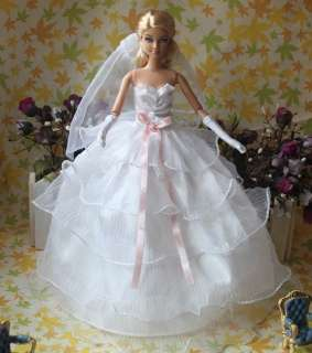 New Fashion HandmadeTop Grade Barbie Doll Princess/Gown Dress Clothes