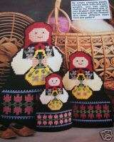 Plastic Canvas Pattern: 3 Peasant Girl Can Covers