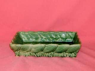 VINTAGE McCOY ART POTTERY GREEN LOW RECTANGULAR PLANTER