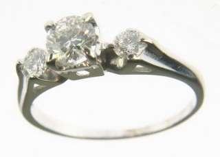 VINTAGE LADIES THREE STONE DIAMOND RING 14K WHITE GOLD