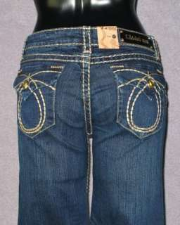 NWT Womens LA IDOL Jeans DARK BLUE WITH KHAKI WHIP STITCHING 534LP