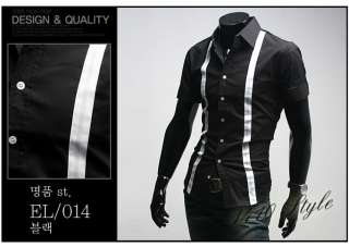 Designer Slim Dress Short Shirt Top Double Line Black/White S M L 8009