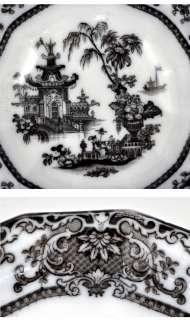 Antique English Mulberry Black/White Large Serving Bowl
