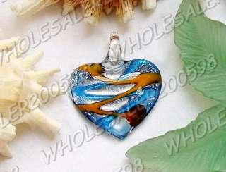 8PCS Heart 45*40MM Lampwork Glass Pendants FREE