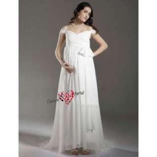 Column Off shoulder Sweep Train Maternity Wedding Dress