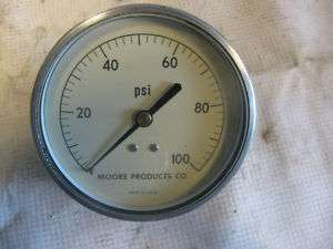 MOORE PRODUCTS CO 0 100 PSI PRESSURE GAUGE 3.3/4 DIA