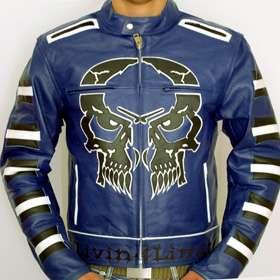 NEU skull bones Motorradjacke blau Motorrad Jacke Leder