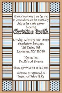 Blue & Brown Stripes Max Digital Baby Shower Invitation