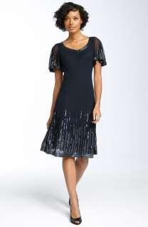 NWOT J Kara Embellished Flutter Sleeve Dress SZ 8 Black