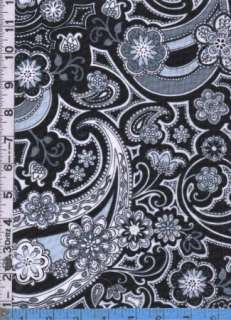 Fabric Henry Glass BLACK WHITE & CURRANT MOD PAISLEY