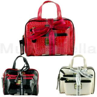 KENNETH COLE REACTION HANDBAG 3 PIECE PATENT COSMETIC CASE MAKEUP BAG