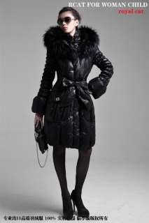 REAL FUR COLLAR WOMEN HOODED WINTER LONG DOWN JACKET COAT PARKA