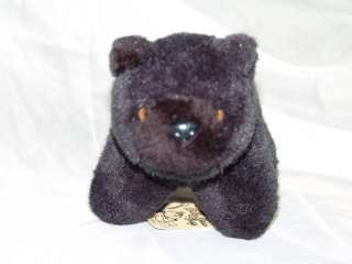 VINTAGE 1995 BOBBY BEAR TRAP PLUSH BLACK STUFFED ANIMAL
