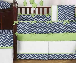 NAVY BLUE LIME GREEN ZIG ZAG GIRL BOY UNISEX BABY BEDDING FOR NEWBORN
