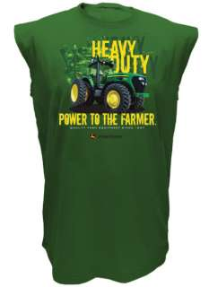 John Deere Green Heavy Duty Power Sleeveless Muscle T Shirt M L XL XXL