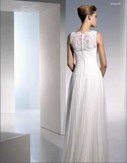 Elegant White Ivory high neck Lace Wedding Dress Bridal Gown Size 4 6