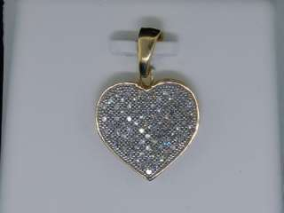 LADIES 1/4CT YG DIAMOND HEART LOVE PAVE PENDANT CHARM