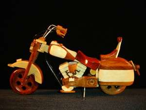 NEW Hand Carved Wood Art Model Motorcycle HARLEY DAVIDSON Bike
