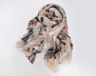 Fashion WOMEN begonia flower ink style cotton neck scarf shawl 5