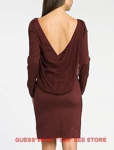 MARCIANO GUESS Dalia Blouson Dress Silk Gown Open Back Low V Neck XS S