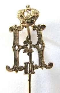 RARE UNIQUE RUSSIAN 14K GOLD&DIAMOND AWARD BROOCH PIN BY NICHOLAS II