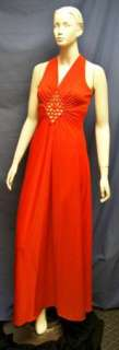 VTG Red 70s Glam Full Length Dress   M