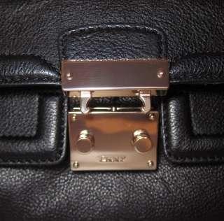 295 DKNY Vintage Leather Classic Pushlock Bag Purse EW Satchel