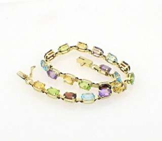 Gold Amethyst Blue Topaz Garnet Peridot Citrine Tennis Bracelet