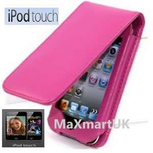 NEW HOT PINK FLIP LEATHER CASE POUCH FOR IPOD TOUCH 4 4G UK