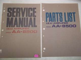 Vtg Akai Service/Repair Manual~AA 8500 Amp Amplifier~Original