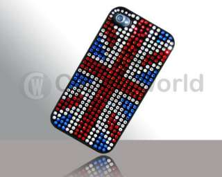 BLING DIAMOND CRYSTAL UNION CASE FORIPHONE 4 UK FLAG