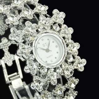 Luxury Women Leather Manmade Crystal Diamond Quartz Ladies Wristwatch