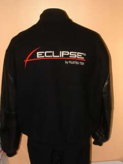ECLIPSE by FUJITSU TEN Men BLACK RED Wool Jacket LEATHER CAR AUDIO