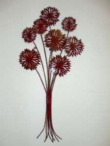 Contemporary Metal Wall Art Red Urchin Flowers