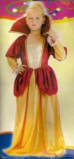 GIRL MEDIEVAL/TUDOR RED/GOLD VELVET QUEEN FANCY DRESS COSTUME