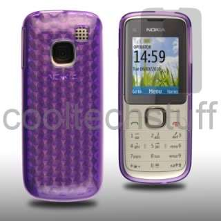PURPLE HEX SILICONE CASE COVER NOKIA C1 01+SCREEN GUARD