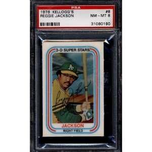 1976 Kelloggs #8 Reggie Jackson As PSA 8 NM Mint: Sports